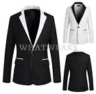 Men's New Black White Mixed Colors Long Sleeve Slim Suits Jacket Coats WFR