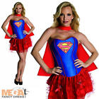 Sexy Supergirl Fancy Dress Ladies Superhero Corset Style Womens Costume UK 6-14