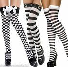 Ladies Black White Striped Chequered Checked Police Fancy Dress Stockings Socks