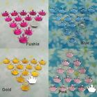 200 Acrylic Crown Flat Bead Party Babyshower Scrapbook Gold Pink Blue Fushia
