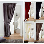 "Fully Lined Velvet Door Curtain With Free Tieback - Pencil Pleat - 66"" X 84"""