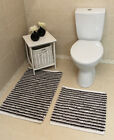 Soft Black White Striped Washable Bathroom Rug 100% Cotton Cheap Bath Mats Set