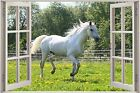 Huge 3D Window White Horse View Wall Stickers Mural Art Decal Wallpaper 1114
