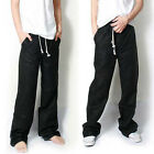 New fashion mens casual loose long straight thin breathable linen pants trousers