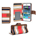Striped Card Wallet Cell Phone Case Cover for Samsung Note 3 S5 S4 iPhone 5 5S
