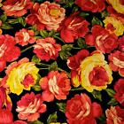 Luscious Life-Sized Red Yellow & Peach Roses on Black Cotton Fabric by Benartex