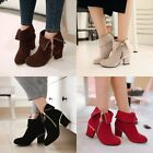NEW 2015 ankle boots mid low heels faux suede zip folded round toe date shoes