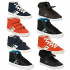 Boys Girls LACOSTE Trainers Kids High Top FAIRLEAD Shoes Lace Up Velcro Youth