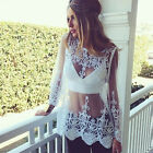 Fashion Women Sheer Sleeve Embroidery Floral Lace Crochet Tee Shirt Tops Blouse