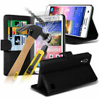 PU Leather Flip Wallet Book Case Cover & Tempered Glass For Huawei Ascend G620s
