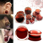 1Pair 8-25mm Blood Red Liquid Filled Globe Acrylic Ear Plugs Flesh Tunnels Gauge