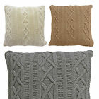 "100% Cotton Aran Cushions - Thick & Large Knitted Cushion Covers 22"" X 22"""