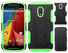 For Motorola Moto G 2nd Gen Armor HYBRID KICKSTAND Rubber Case Cover Accessory