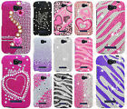 Alcatel OneTouch Pop Icon Crystal Diamond BLING Case Phone Cover + Screen Guard