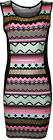 New Womens Celeb Aztec Foil Print Ladies Sleeveless Bodycon Mini Dress Top 8-14