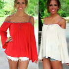 Red Sexy Woman Loose Tops T-Shirt Off Shoulder Long Sleeve Blouse Party Prom ~XL