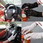 Womens Sunscreen Anti UV Gloves Lace Breathable Full Finger Driving Gloves A97