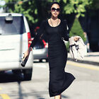 Women Knit Long Sleeve Casual Evening Party OL Bodycon Slit Thicken Long Dress