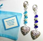 Something Blue Lucky Bridal Clip-on Charm Photo Heart Locket Crystals & Pearls