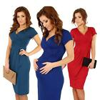 Women Office Stretchy Dress Tunic V-Neck Short Sleeve Maternity Dress Fashion