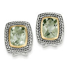 Green Quartz Earrings .925 Sterling Silver 14K Gold Accent Shey Couture