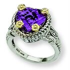 Amethyst Heart Ring .925 Sterling Silver & 14K Gold Accent Sz 6 - 8 Shey Couture
