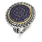 Blue Sapphire Ring .925 Sterling Silver & 14K Gold Accent Size 6-8 Shey Couture