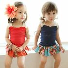 2Pcs Girls Baby Kid Clothes Tank Straps T-Shirt+Floral Mini Skirt Set Outfit 2-7