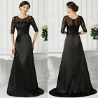 BLACK Lace + Satin Long Vintage Formal Bridesmaid Dresses Prom Ball Gown Wedding