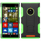 For AT&T Nokia Lumia 830 HYBRID KICKSTAND Rubber Case Phone Cover Accessory