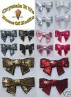 FABRIC SEQUIN BOW TIE IRON-ON GEM BLING BABY KID CLOTH DIY CRAFT TRANSFER PATCH