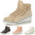 WOMENS LADIES MID WEDGE PLATFORM LACE UP SEQUIN ANKLE HI-TOP TRAINER BOOTS SIZE