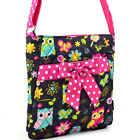 Women Owl Print Crossbody Bag Quilted Cotton Messenger Bag with Polka Dot Trim