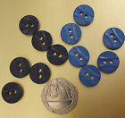 "12 vintage round shirt BUTTONS Royal Blue GREY 1/2"" for dress clothes sewing"