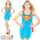 Supergirl Tank Dress Ladies Superhero Fancy Dress Womens Adult Superman Costume