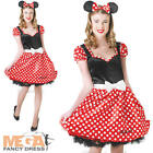 Disney Minnie Mouse + Ears Ladies Fancy Dress Womens Adults Cartoon Costume New