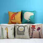 "Cartoon Animal Giraffe & Fox Decor Pillow Case Cushion Cover Square 18"" Linen"