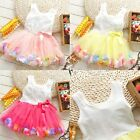 Girls Flower Party Wedding Birthday Princess Tutu Dress with Ribbon Bow Dress