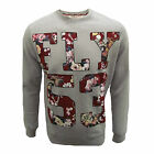 FLY 53 SWEATSHIRT DRASTIC MEASURES MENS GREY MARL FLORAL PRINT TOP UK S