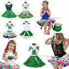 ST PATRICK DAY clover leaf hat shirt kelly green pettiskirt girl clothing 1-8Y