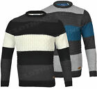 Mens BERLIN Cable Knit Crew Neck  Jumper Sweater Knitted Top Winter