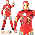 Deluxe Iron Man Men's Avengers Fancy Dress Muscle Superhero Adult Marvel Costume