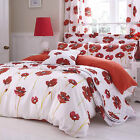 Catherine Lansfield Poppies White Poppy Red Floral Duvet Quilt Cover Bedding Set