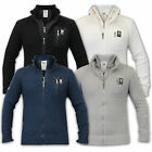 Mens Knitted Jackets Crosshatch Coat Cotton Funnel Neck Double Layer Zip Winter
