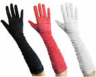 BLACK CORAL RED WHITE ELBOW RUCHED SATIN FULL HAND GLOVES