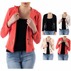 AM66 Womens Quilted Long Sleeve Blazer Top Ladies Button Detail Jacket Cardigan