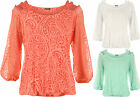 New Womens Plus Strappy Mesh Detail Lined Long Sleeve Ladies Stretch Top 14-24