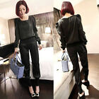 New Fashion Womens Club Party Tops Blouse T-Shirt+ Long Pants Trousers One Size