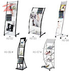 ZNL New Magazine Newspaper Display Stand Book Rack Office Reading With Rolls HJ