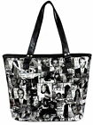 LADIES ELLA SHOPPER BAG BLACK & WHITE MAGAZINE PRINT MULTI 72718